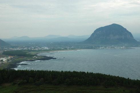 송악산에서 바라본 산방산
