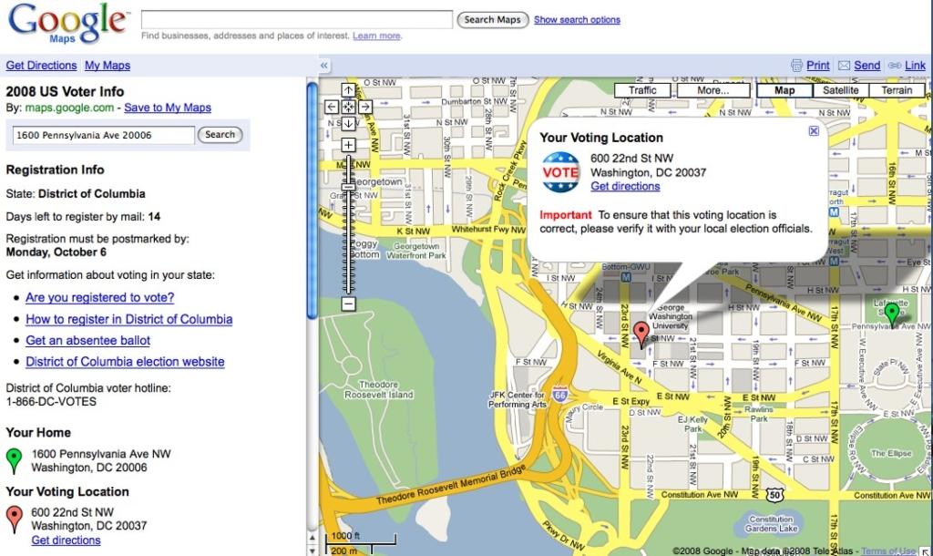 구글맵 투표소 위치 정보