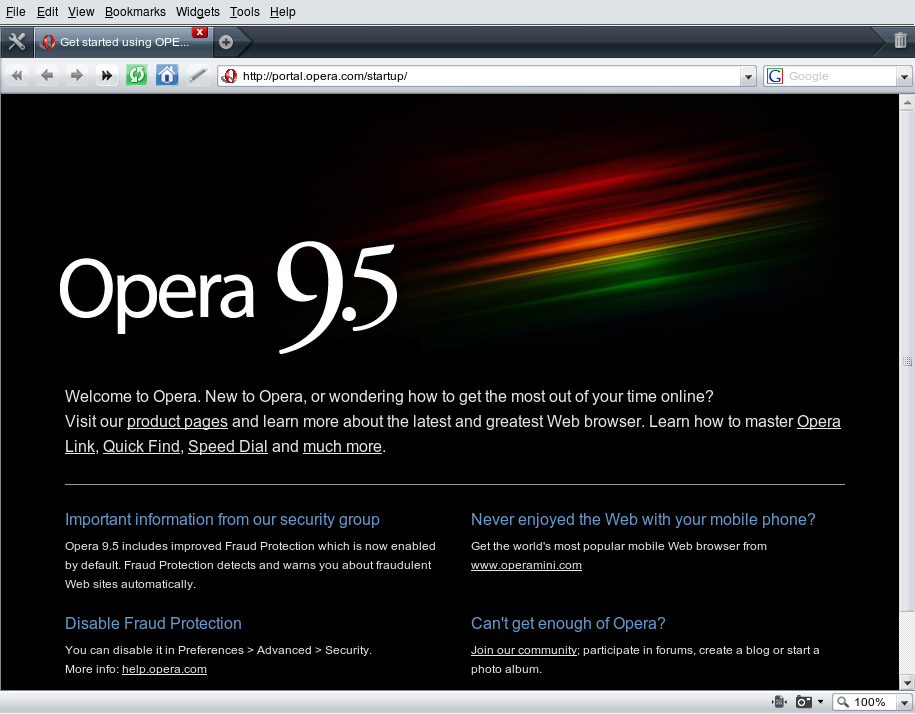 Opera 9.5 on Linux