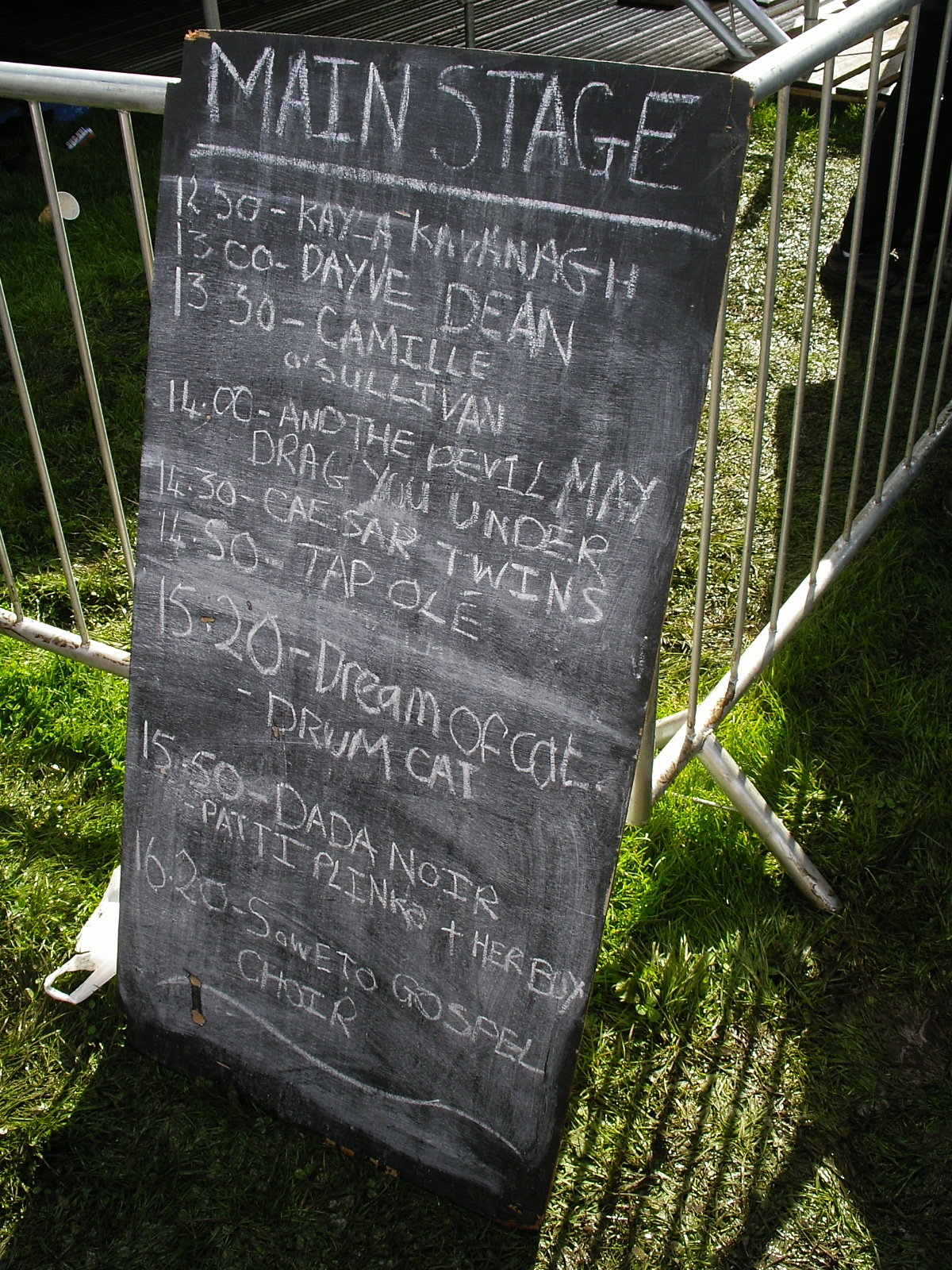 Black board programme of main stage on Fringe Sunday