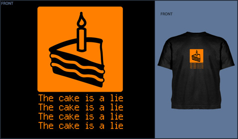 "T-Shirts saying, ""the cake is a lie"""