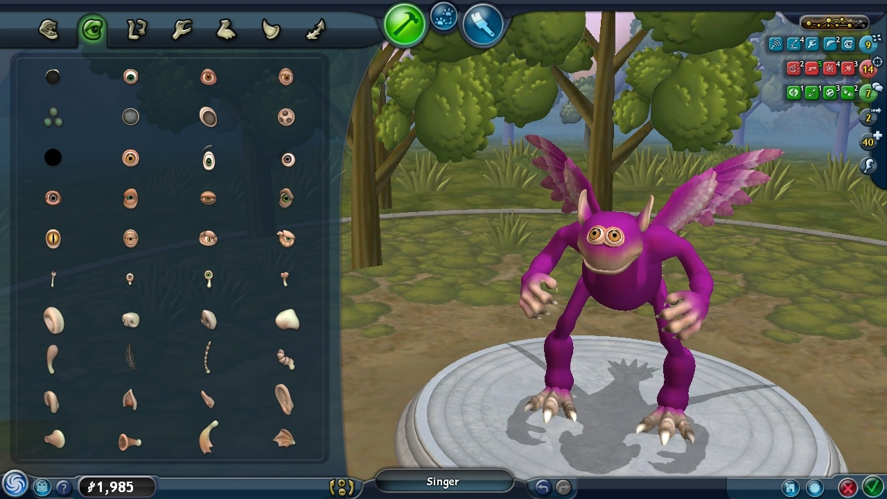 Screenshot of SPORE Creature Creator